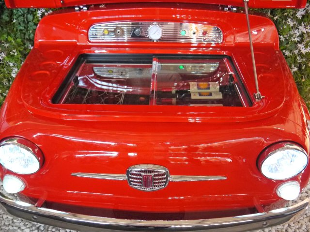 red fiat fridge